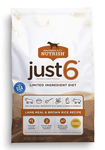 Rachael Ray Nutrish Just 6 Limited Ingredient Diet, Lamb Meal & Brown Rice Recipe Dry Dog Food, 14 Pounds