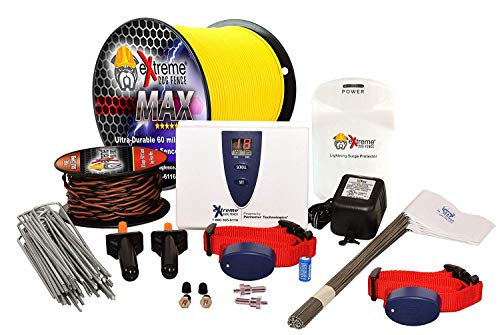 Extreme Dog Fence Max Grade Electric Dog Fence - 2 Dog Kit - 1000 Feet of 14 Gauge-Plus Maximum Duty Wire for Ultimate...