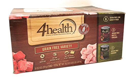 4health, Tractor Supply Company, Grain Free Adult Wet Dog Food, All Breeds, 6 Can Variety Pack, 3 Cans Beef & Chicken +...