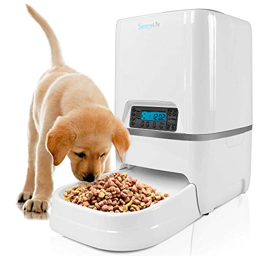 SereneLife Automatic Pet Feeder - Electronic Digital Dry Food Storage Meal Dispenser with Built-in Microphone, Voice...