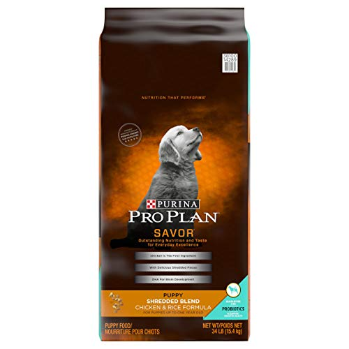 Purina Pro Plan Probiotics Dry Puppy Food, SAVOR Shredded Blend Chicken & Rice Formula - 34 lb. Bag