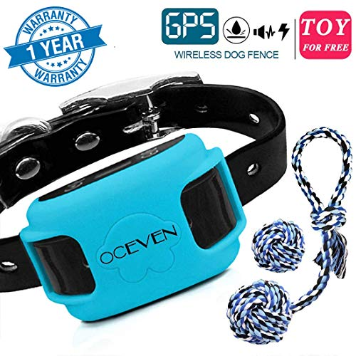 OCEVEN Wireless Dog Fence System with GPS, Outdoor Pet Containment System Rechargeable Waterproof Collar EF851S, Blue,...