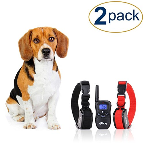 eXuby 2X Shock Collar for Small Dogs w/ 1 Remote & Training Dog Clicker - 3 Modes (Sound, Vibration & Shock) with...