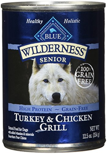 Blue Buffalo Wilderness High Protein Grain Free, Natural Senior Wet Dog Food, Turkey & Chicken Grill 12.5-Oz Can (Pack...
