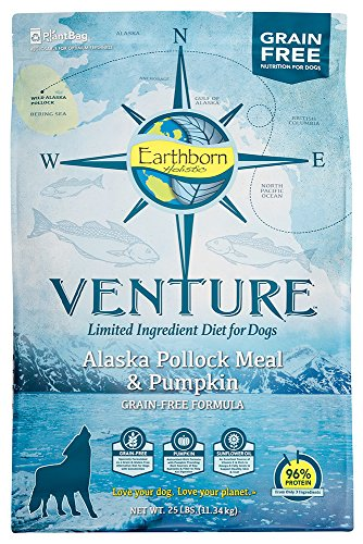 Earthborn Holistic Venture Alaska Pollock Meal And Pumpkin Limited Ingredient Diet Grain Free Dry Dog Food, 25 Lb.