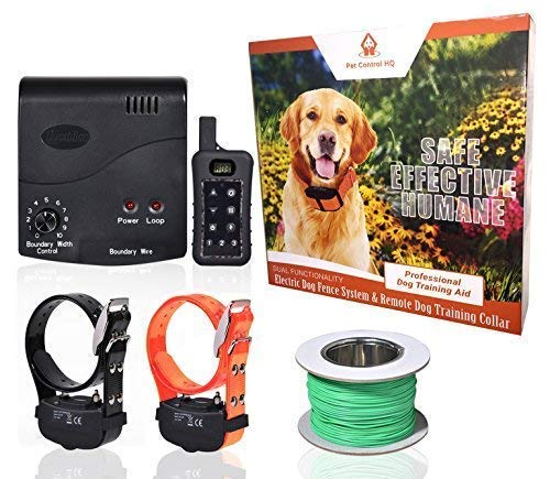 Pet Control HQ Wireless Electric Dog Fence & Remote Dog Training System, 2 Waterproof & Rechargeable Shock Collar,...