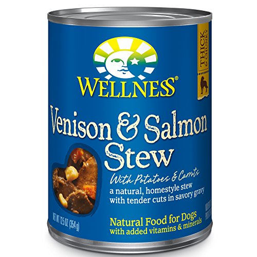 Wellness Thick & Chunky Natural Wet Canned Dog Food, Venison & Salmon Stew, 12.5-Ounce Can (Pack Of 12)