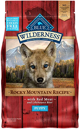 Blue Buffalo Wilderness Rocky Mountain Recipe High Protein Grain Free, Natural Puppy Dry Dog Food, Red Meat 4-lb