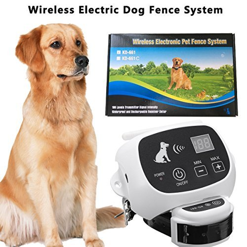 CarePetMost Wireless Electric Dog Fence System Outdoor Invisible Wireless Dog Fence Containment System 550YD Remote...