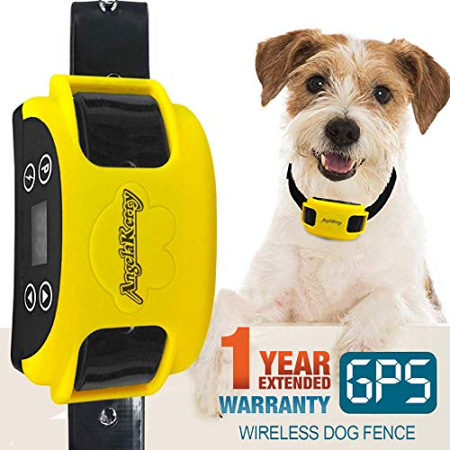 AngelaKerry Wireless Dog Fence System with GPS, Outdoor Pet Containment System Rechargeable Waterproof Collar EF 851S...