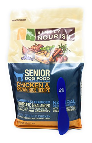 Simply Nourish Senior Adult Dry Dog Food - Natural, Chicken & Brown Rice, 6lbs with Especiales Cosas Mixing Spatula