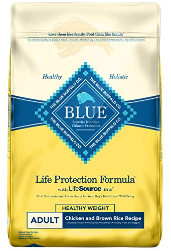 Blue Buffalo Life Protection Formula Healthy Weight Dog Food - Natural Dry Dog Food for Adult Dogs - Chicken and Brown...