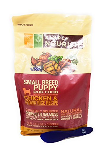 Simply Nourish Small Breed Puppy Dry Dog Food - Natural, Chicken & Brown Rice, 6lbs and Especiales Cosas Mixing Spatula
