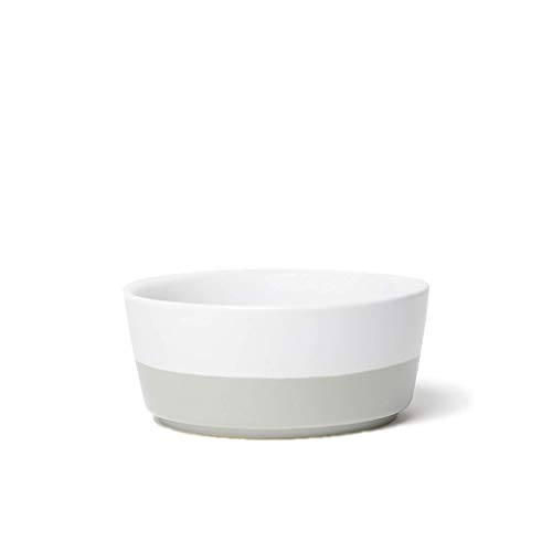 Waggo Dipper Ceramic Dog Bowl Light Grey/White Size Large Heavyweight Durable Dog Food and Water Dish
