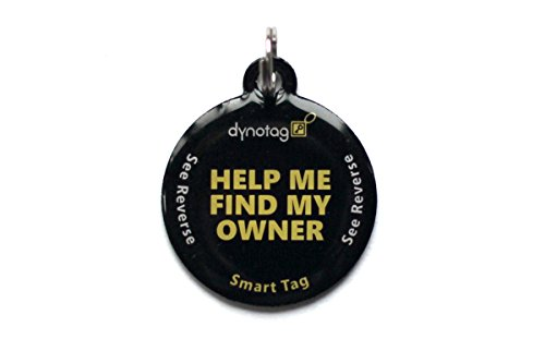 Dynotag Web Enabled Smart Round Coated Metal ID Tag and Ring. Pet Tag, Property Tag - Multiple Uses, with DynoIQ &...