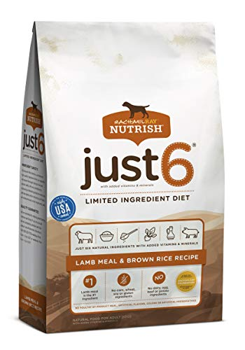 Rachael Ray Nutrish Just 6 Premium Natural Dry Dog Food, Limited Ingredient Diet Lamb Meal & Brown Rice Recipe, 14...