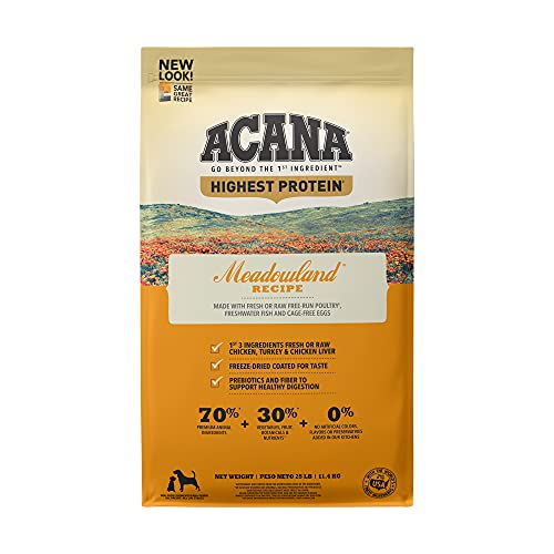 Acana Grain Free Dry Dog Food, High Protein, Freeze-Dried Coated, Chicken, Turkey, Fish, Cage-Free Eggs, 25lb