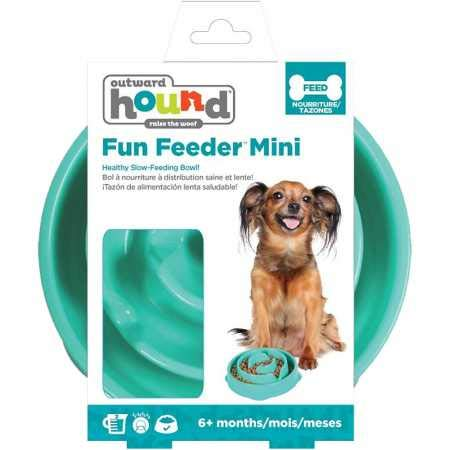 Dog Games Outward Hound Fun Feeder Mini Drop Teal