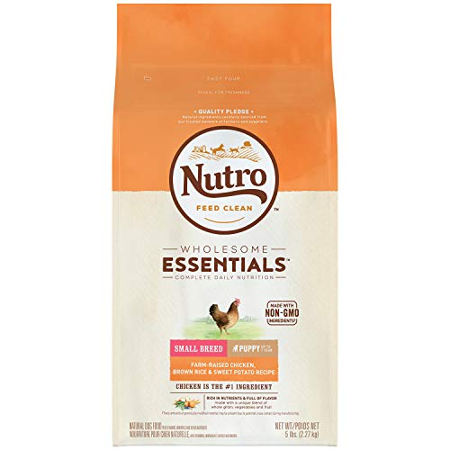 NUTRO WHOLESOME ESSENTIALS Natural Small Breed Puppy Farm-Raised Chicken, Brown Rice & Sweet Potato Recipe 5 Pounds