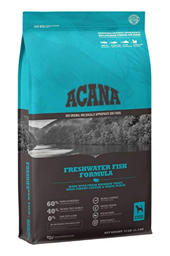 Acana Grain Free Dog Food, Freshwater Fish, Whole Trout, Catfish, and Perch, 25lb