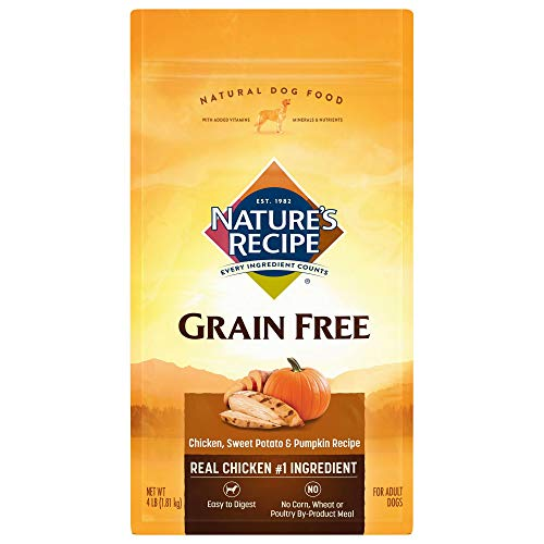 Nature's Recipe Grain Free Easy to Digest Chicken, Sweet Potato and Pumpkin Recipe Dry Dog Food, 4-Pound