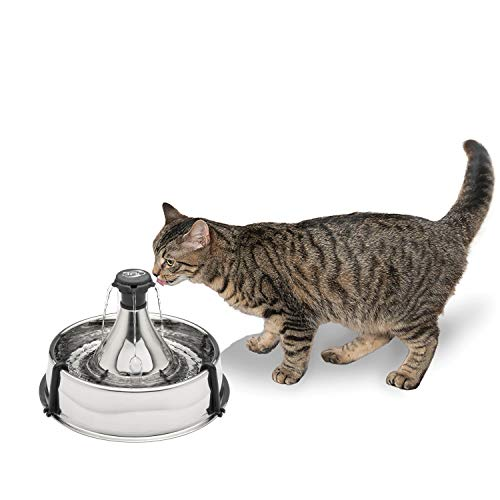 PetSafe Drinkwell Stainless 360 Multi-Pet Fountain - 128 oz Capacity Water Dispenser for Cats and Dogs - Customizable...
