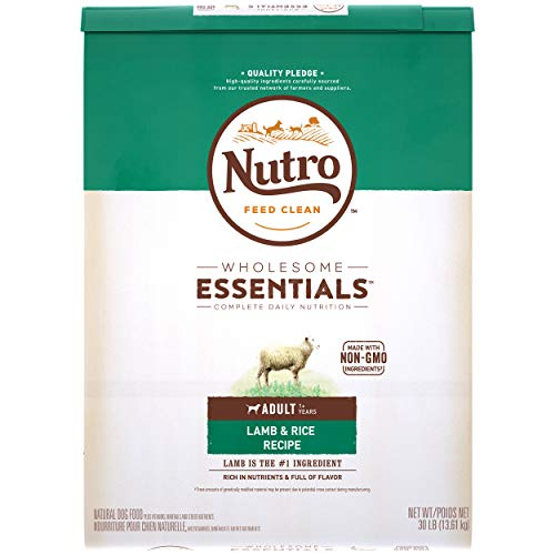 NUTRO WHOLESOME ESSENTIALS Adult Natural Dry Dog Food Lamb & Rice Recipe, 30 lb. Bag