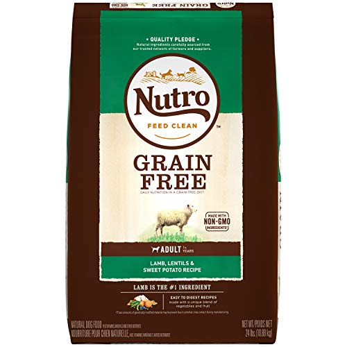 NUTRO GRAIN FREE Adult Natural Dry Dog Food Lamb, Lentils and Sweet Potato, 24 lb. Bag
