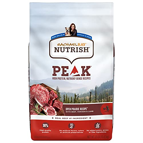 Rachael Ray Nutrish PEAK Natural Dry Dog Food, Open Prairie Recipe with Beef, Venison & Lamb, 23 Pounds, Grain Free...