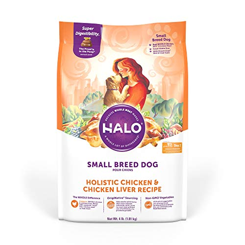 Halo Natural Dry Dog Food - Small Breed Recipe - Premium and Holistic Real Whole Meat - Chicken & Chicken Liver - 4...