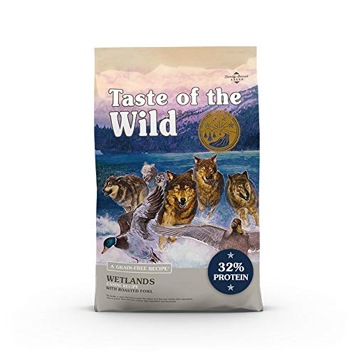 Taste of the Wild Wetlands Canine Grain-Free Recipe with Roasted Fowl Dry Dog Food, Made with High Protein from Real...