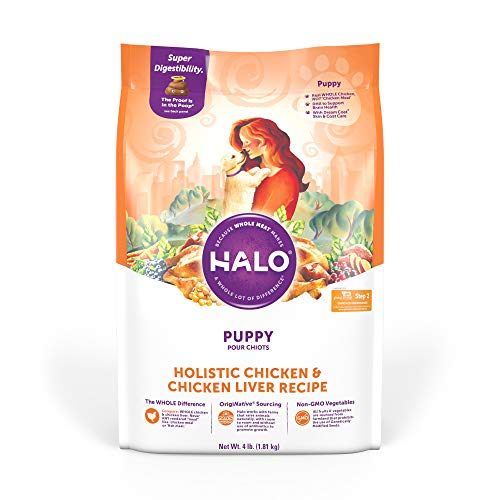 Halo Purely For Pets Natural Dry Dog Food, Puppy Chicken & Chicken Liver Recipe, 4-Pound Bag (36220)