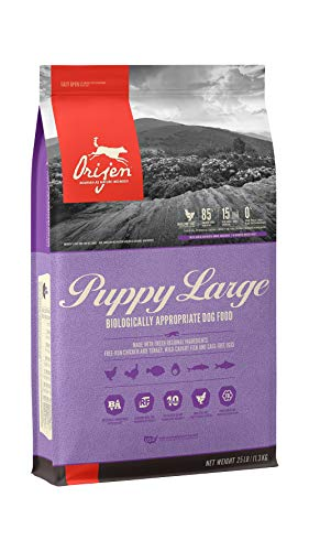 ORIJEN Puppy Dry Dog Food for Large Breeds, Grain Free, High Protein, Fresh & Raw Animal Ingredients, 25lb