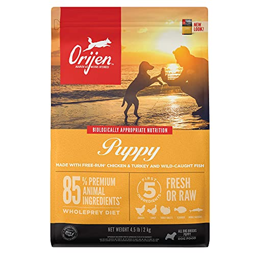 ORIJEN Dog Puppy Recipe, 4.5lb, High-Protein Grain-Free Dry Puppy Food, Packaging May Vary