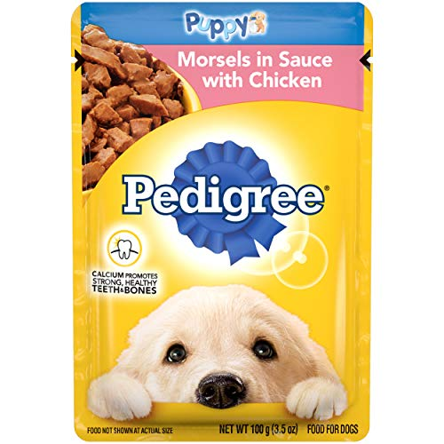 PEDIGREE CHOICE CUTS Puppy Soft Wet Meaty Dog Food Morsels in Sauce With Chicken, (16) 3.5 oz. Pouches