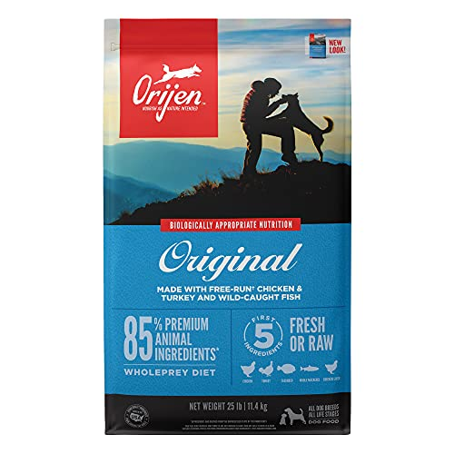 Orijen Dry Dog Food for All ages, Original, Grain Free, High Protein, Fresh & Raw Animal Ingredients, 25lb, Blue, 25...