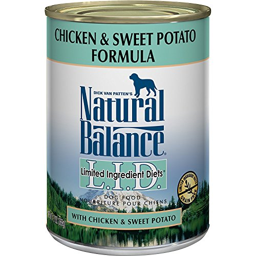 Natural Balance L.I.D. Limited Ingredient Diets Wet Dog Food, Chicken & Sweet Potato Formula, 13 Ounce Can (Pack of 12),...