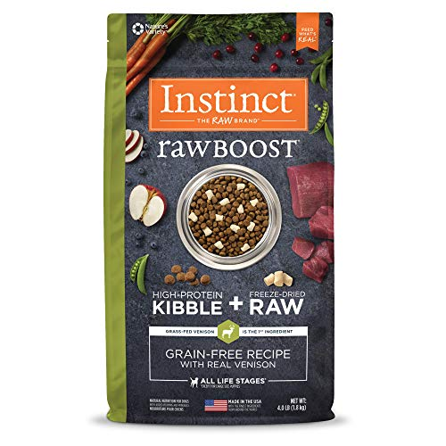 Instinct Raw Boost Grain Free Recipe with Real Venison Natural Dry Dog Food by Nature's Variety, 4 lb. Bag