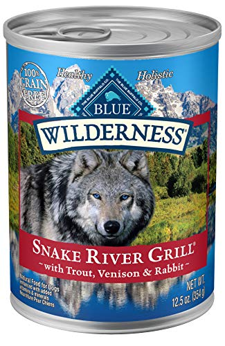 Blue Buffalo Wilderness Snake River Grill High Protein Grain Free, Natural Wet Dog Food, Trout, Venison & Rabbit 12.5-oz...