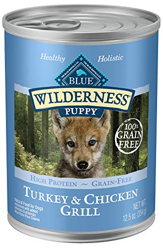 Blue Buffalo Wilderness High Protein Grain Free, Natural Puppy Wet Dog Food, Turkey & Chicken Grill 12.5-oz can (pack of...