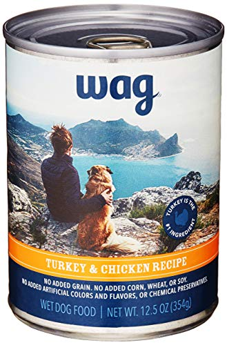 Amazon Brand - Wag Wet Canned Dog Food, Turkey & Chicken Recipe, 12.5 oz Can (Pack of 12)