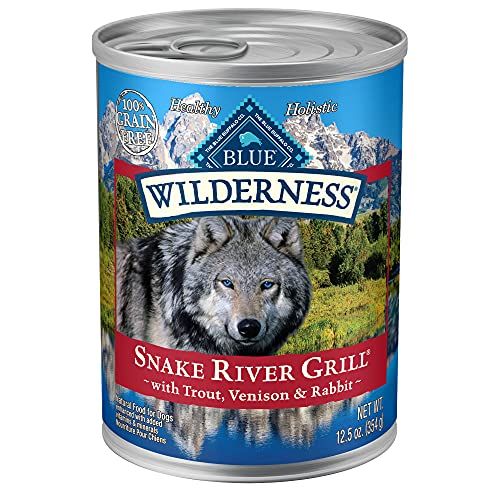 Blue Buffalo Wilderness Snake River Grill High Protein, Natural Wet Dog Food, Trout, Venison & Rabbit 12.5-oz cans (Pack...