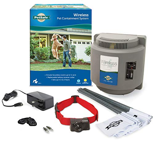 PetSafe Wireless Fence Pet Containment System, Covers up to 1/2 Acre, for Dogs over 8 lb, Waterproof Receiver with Tone...