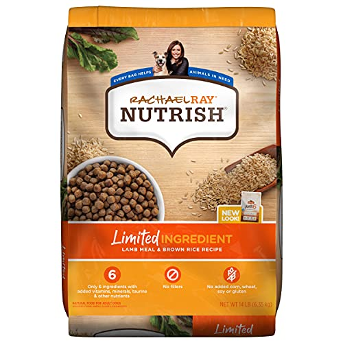 Rachael Ray Nutrish Limited Ingredient Lamb Meal & Brown Rice Recipe, Dry Dog Food, 14 Pound Bag (Packaging Design May...