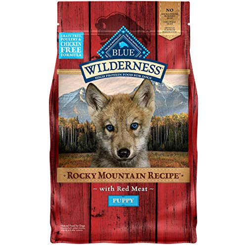 Blue Buffalo Wilderness Rocky Mountain Recipe High Protein, Natural Puppy Dry Dog Food, Red Meat 4-lb