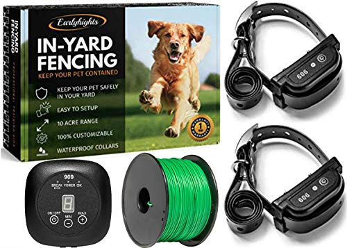 Earlyhights Electric Underground Outdoor Dog Containment Fence System,5 Acre Range 500 Feet In Ground Wire, Small,...