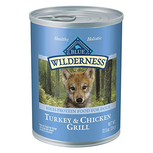 Blue Buffalo Wilderness High Protein Grain Free Natural Puppy Wet Dog Food, Turkey & Chicken Grill 12.5-oz cans (Pack of...