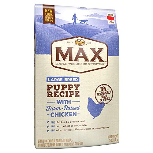 NUTRO MAX Large Breed Puppy Recipe With Farm Raised Chicken Dry Dog Food, (1) 25-lb. bag; Rich in Nutrients and Full of...