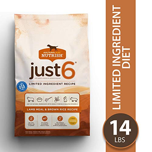 Rachael Ray Nutrish Just 6 Natural Premium Dry Dog Food, Limited Ingredient, Lamb Meal & Rice, 14 Lbs