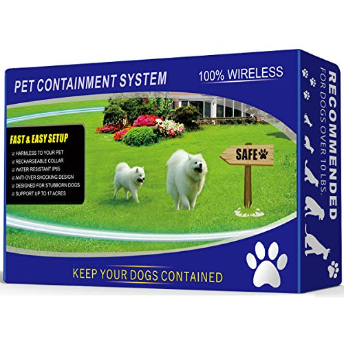 1 Dog Wireless Pet Containment System - Rechargeable and Waterproof Collar - 100% Safe & Easy to Install WiFi Radio Dog...